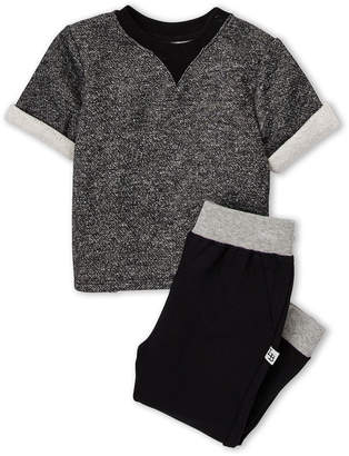 Pippa Little Brother By & Julie (Infant Boys) Two-Piece Cuffed Short Sleeve Sweatshirt & Jogger Sweatpants