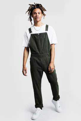 boohoo Slim Fit Rigid Denim Overalls