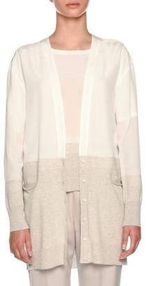 Agnona Silk Cardigan with Knit Details