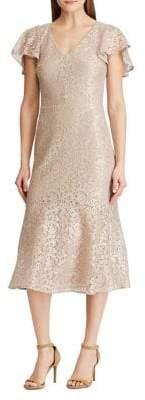 Lauren Ralph Lauren Lace Cocktail Midi Dress