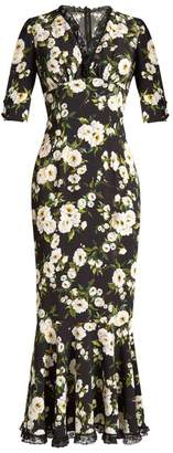 Dolce & Gabbana Floral-print ruffle-trimmed cady dress