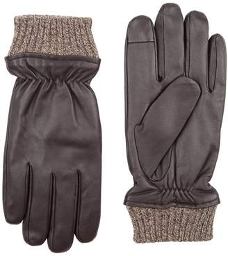 Dockers Pieced Knit Cuff Leather Gloves