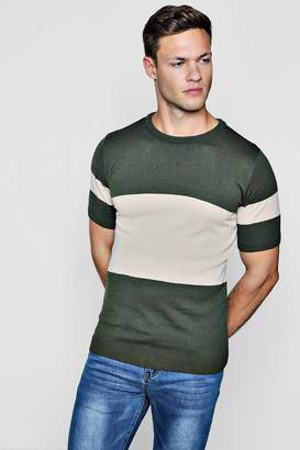 boohoo Muscle Fit Colour Block Knitted T-Shirt