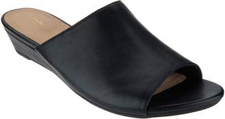 Clarks Artisan Leather Low Wedge Slides - Parram Waltz