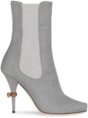 Burberry Stretch Wool Blend Peep-toe Boots 6e9082abb701
