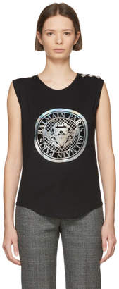 Balmain Black Coin Logo Tank Top