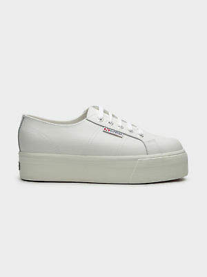 Superga New Womens 2790 Fglw Platform Sneakers In White Leather Womens