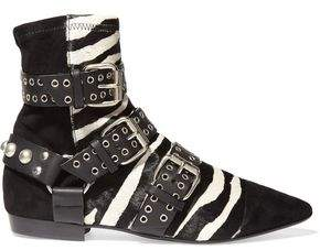 Isabel Marant Rolling Zebra-Print Calf Hair Suede And Leather Ankle Boots