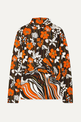 Prada Printed Jersey Turtleneck Top - Orange