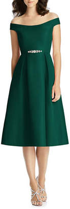 Jenny Packham Bridesmaids Off-the-Shoulder Cap-Sleeve Mikado Cocktail Dress w/ Beaded Belt