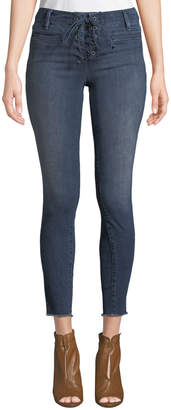 Neiman Marcus Etienne Marcel Lace-Up Skinny Jeans with Frayed Hem
