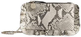 RED Valentino Ruffle Snake Print Clutch Bag