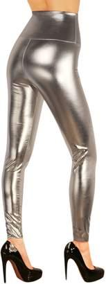 SODACODA Women's Sexy High Waist Faux Leather Leggings - wet look ,M