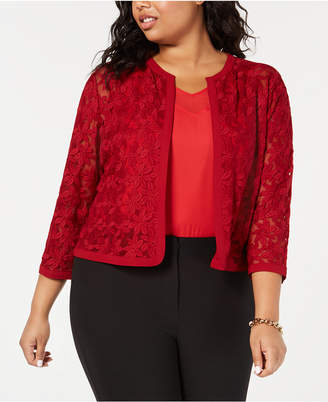 Anne Klein Plus Size Bonded-Lace Cropped Cardigan