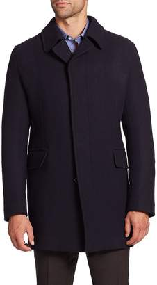 Saks Fifth Avenue Collection Men's Wool-Blend Coat - Dark Blue/Navy, Size x-large