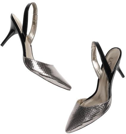 LOFT Odessa Metallic Leather Slingback Mid Heels