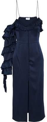 Magda Butrym Pozallo Cold-Shoulder Ruffled Silk-Satin Midi Dress