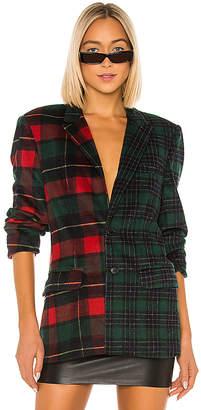 DANIELLE GUIZIO Wool Oversized Plaid Blazer