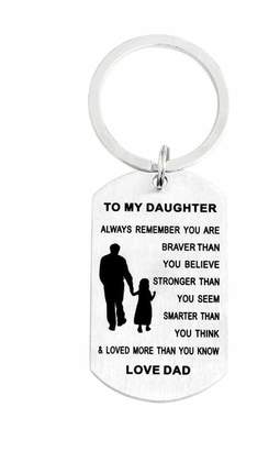 YAKER Inspirational Keychain Gifts to My Son Daughter Always Remember You are Braver Than You Believe Key Ring Charm Family Gifts from Dad Mom Graduation Birthday Christmas