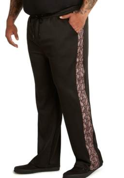Mvp Collections By Mo Vaughn Productions Mvp Collections Men's Big & Tall Tech Knit Track Pants with Animal Print Stripe