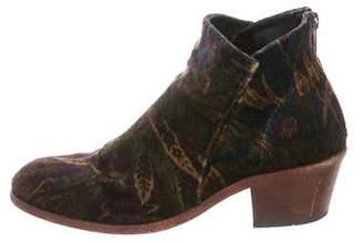 Hudson London Printed Velvet Round-Toe Ankle Boots