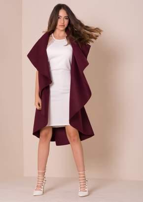 Missy Empire Missyempire Zandra Wine Waterfall Sleeveless Coat