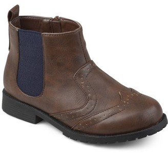 Brinley Co. Toddler Boy's Wingtip Faux Leather Chelsea Boots