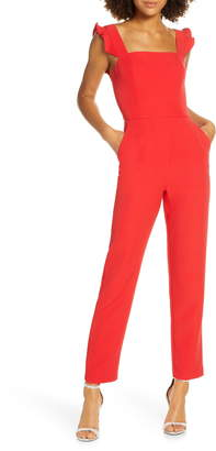 Charles Henry Ruffle Strap Jumpsuit