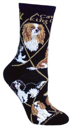 Breed Wheel House Designs Cavalier King Charles Spaniel Puppy Dog Animal Socks Made in USA (Large (Womens 11-13))