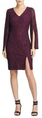 Donna Karan Lace Split-Sleeve Sheath Dress