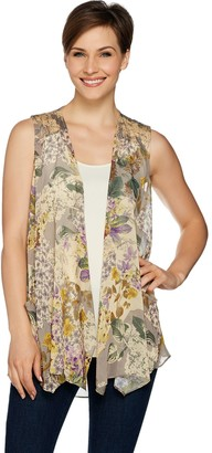 Logo By Lori Goldstein LOGO by Lori Goldstein Printed Chiffon Vest with Knit Yoke