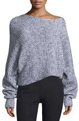 T by Alexander Wang Marled Chunky Cotton-Blend Sweater, Black/White $315 thestylecure.com