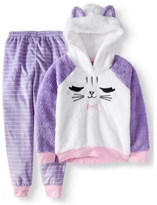 Komar Kids Girls' Cat Hooded Cozy Fleece 2pc Pajama Set (Little Girls & Big Girls)