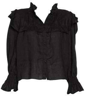 Etoile Isabel Marant Tedy Linen Ruffle Shirt