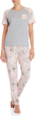 Flora Nikrooz Flora By Two-Piece Megan Floral Raglan Tee & Pant PJ Set