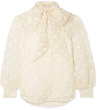 811f6f1399d131 Marc Jacobs Pussy-bow Flocked Silk-organza Blouse - Cream