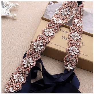 yanstar Wedding Bridal Belt for Wedding Dress Rose Gold Crystal Rhinestone Applique Beaded On Navy Wedding Belt Sash