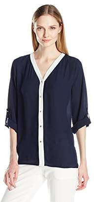 Chaus Women's Roll Tab Colorblock Button up Blouse