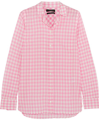 J.Crew - Boy Gingham Crinkled-cotton Shirt - Pink $60 thestylecure.com