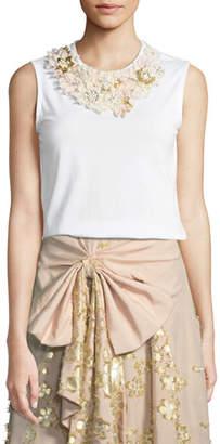 Badgley Mischka Floral-Neck Cotton T-Shirt