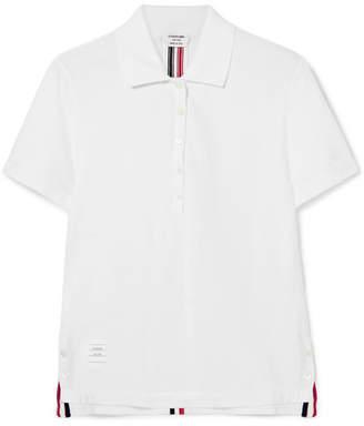 Thom Browne Striped Cotton-piqué Polo Shirt - White