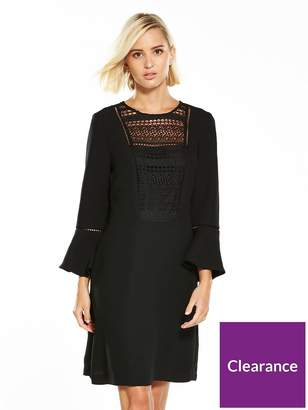 Warehouse Lace And Crepe Mix Dress