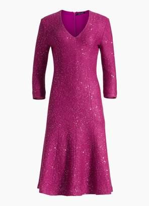 St. John Sequin Fit & Flare Dress