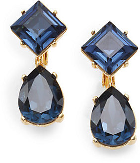 Kenneth Jay Lane Sapphire-Colored Faceted Clip-On Drop Earrings