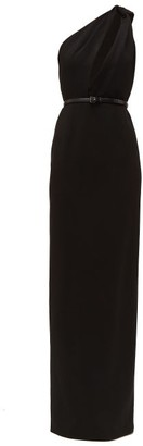 Saint Laurent Asymmetric Cut Out Sable Gown - Womens - Black