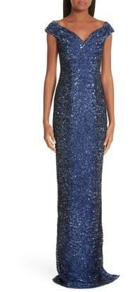 Pamella Roland Sequin Column Dress