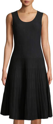 Tomas Maier Sleeveless Striped Fit-and-Flare Dress, Black/White