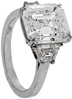 Platinum with 6.01ct. Emerald Cut Diamond Engagement Ring Size 6.25