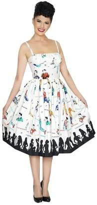 Dexter Bernie Paris Dress in Rockabilly Idol Print Retro Inspired (S)