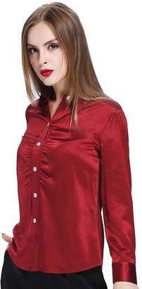 Mulberry LILYSILK Silk Shirt For Office Lady Long Sleeves Botton Front 100% Silk ,S